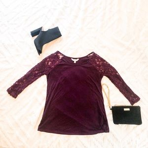 Plum Lacy Sleeve Top